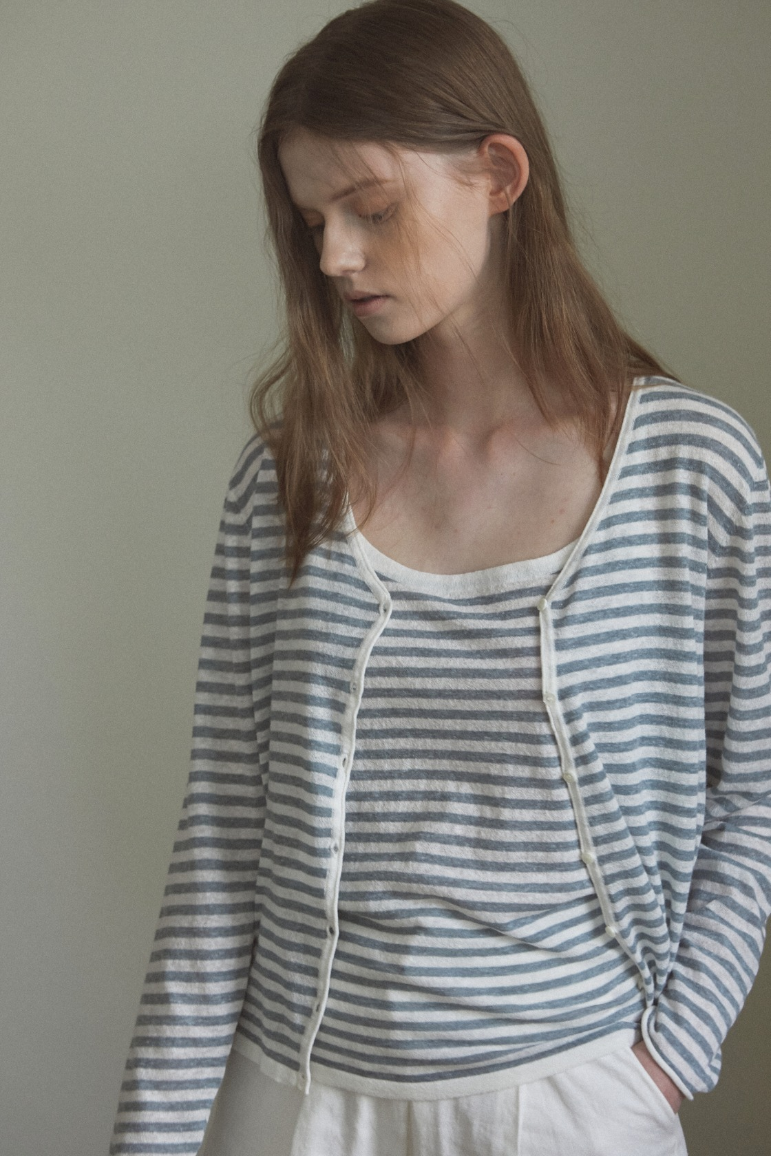 Shadow stripe linen cardigan&sleeveless set_Relaxed Blue