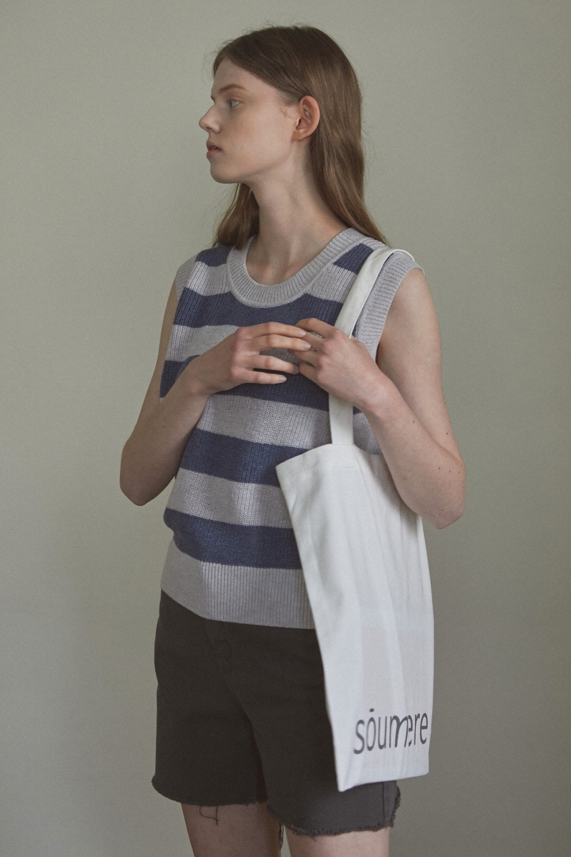 Cool wool stripe  sleeveless top_Easy Navy