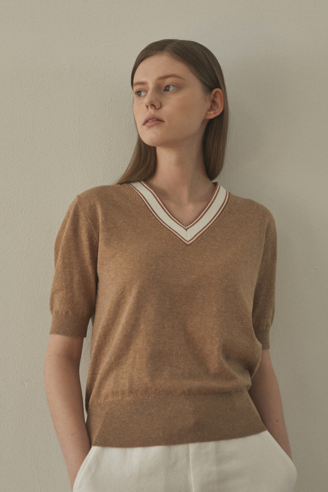 Earthy coloration top_Melange Carmel