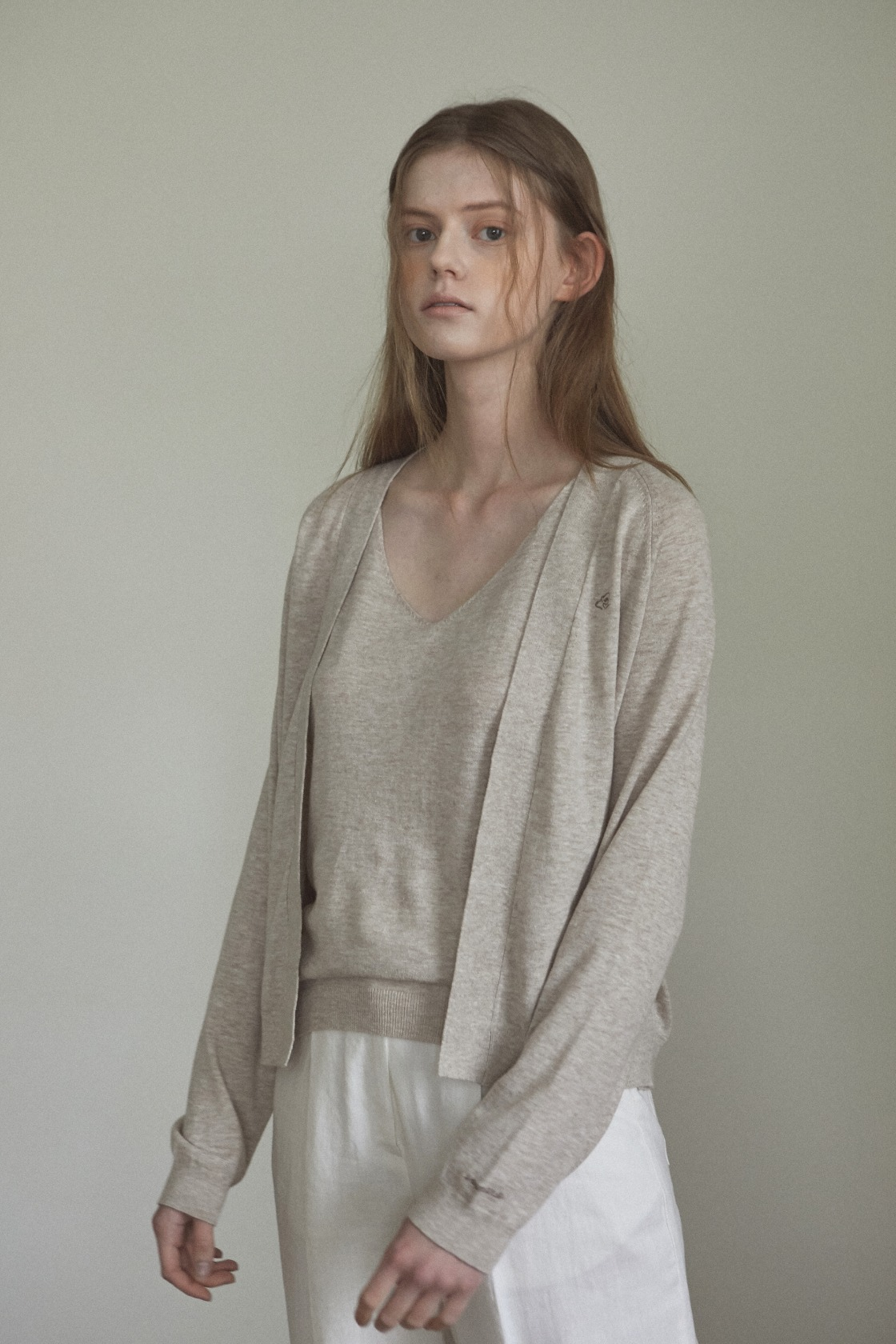 Smooth land linen cardigan_Sand Beige
