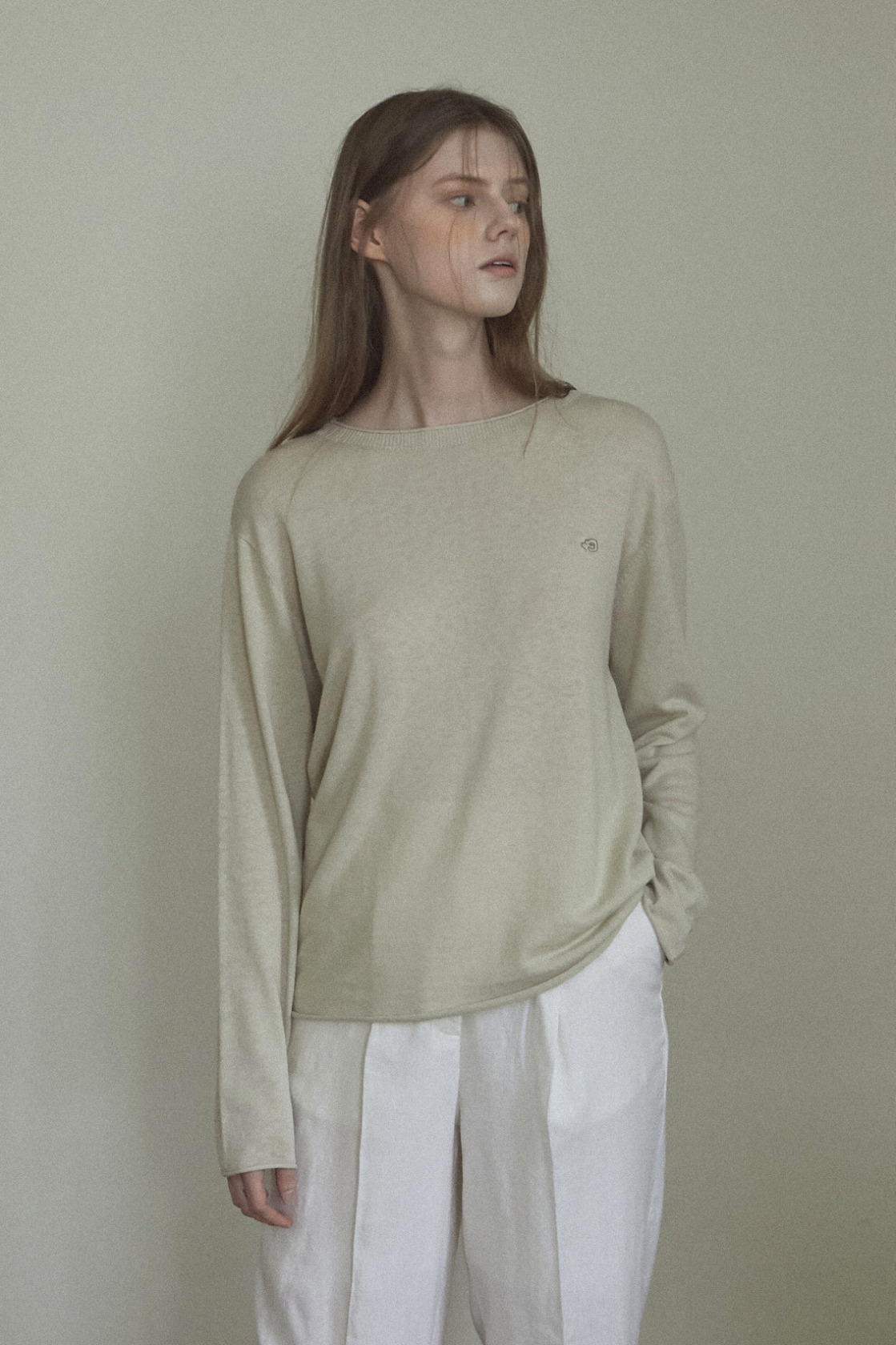 Precious roll linen top_Light Olive