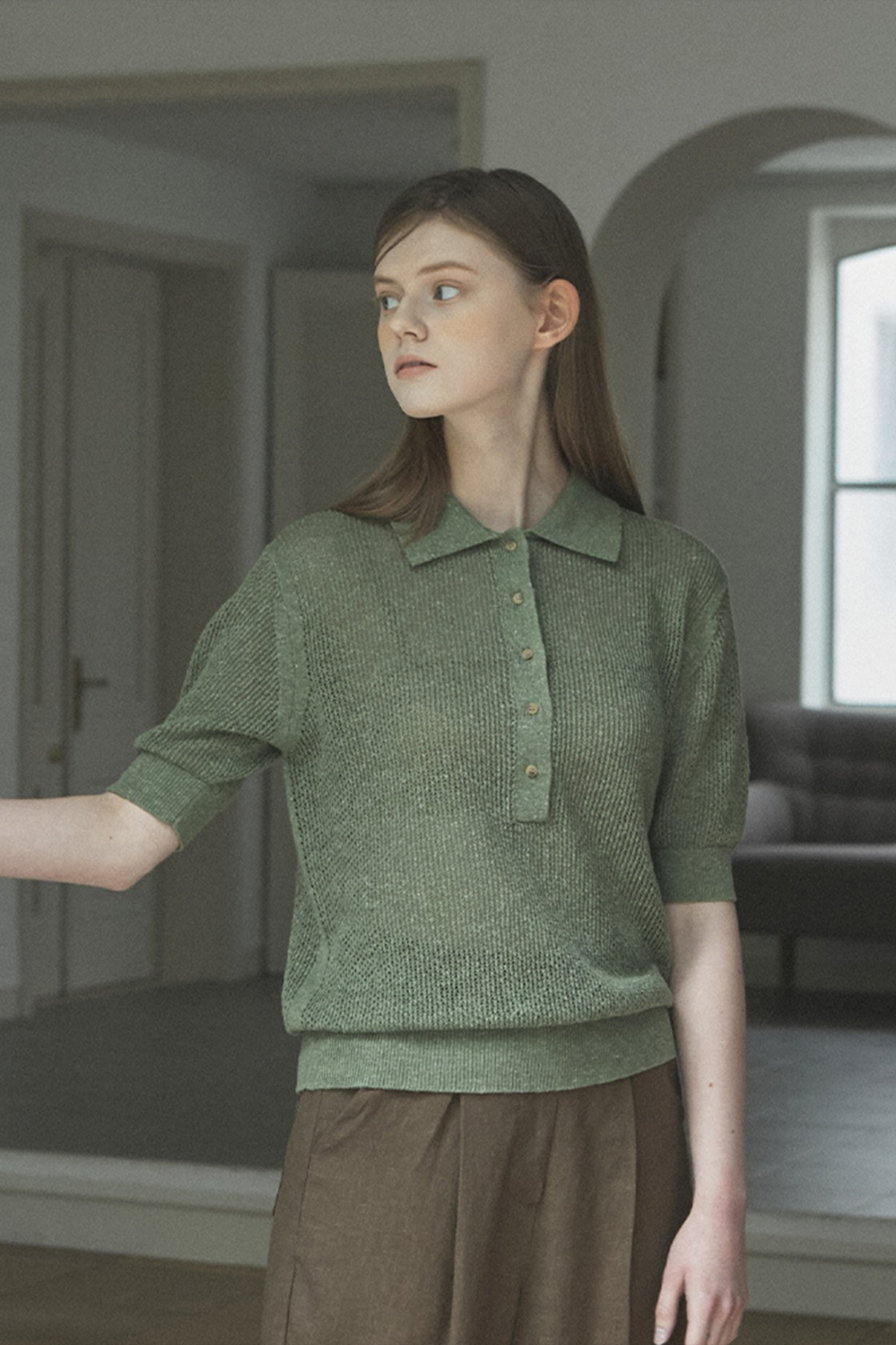 Pure net collar top_Forest Green