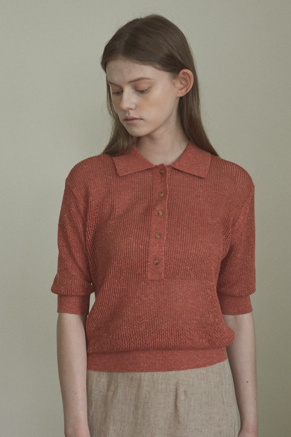 Pure net collar top_Brick Brown