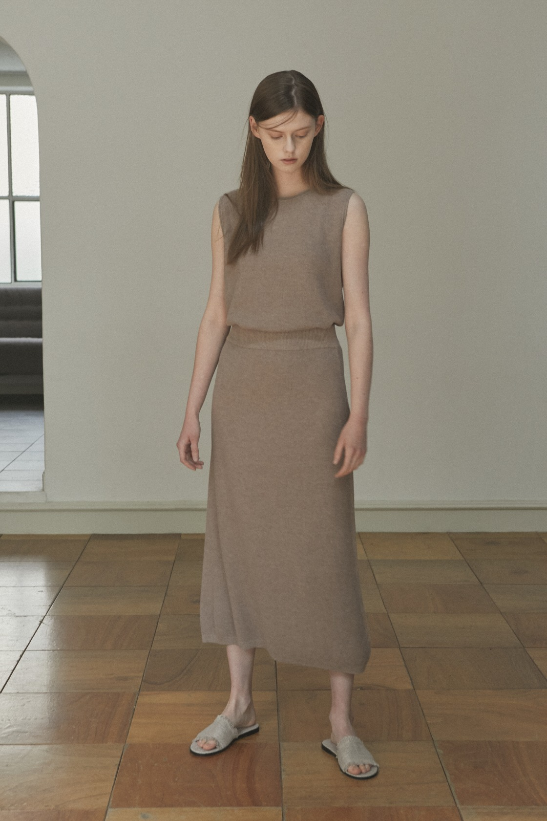 Glorious Moon linen skirt_Soft Brown