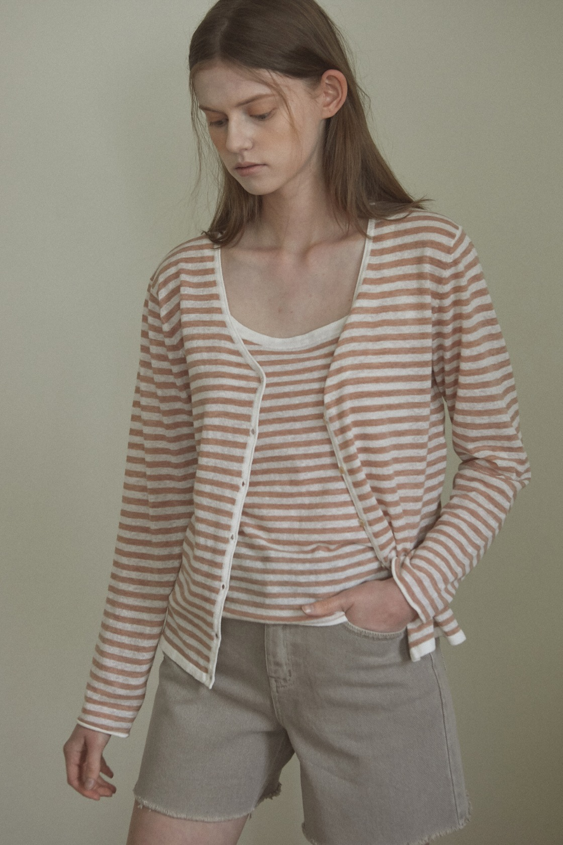 Shadow stripe linen cardigan&sleeveless set_Bronze