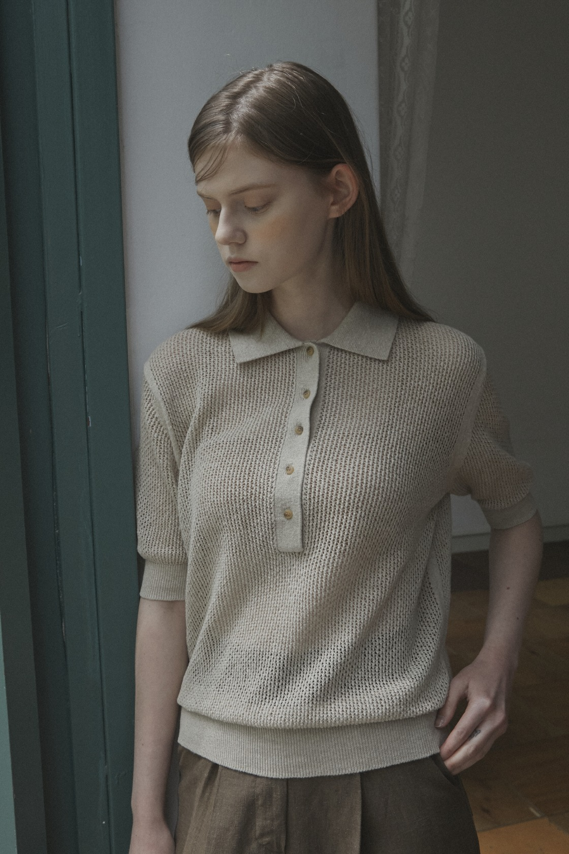 Pure net collar top_Wood Beige