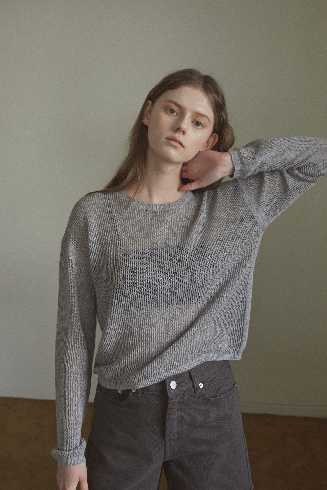 Calm Meadow mesh top_Cloudy Grey