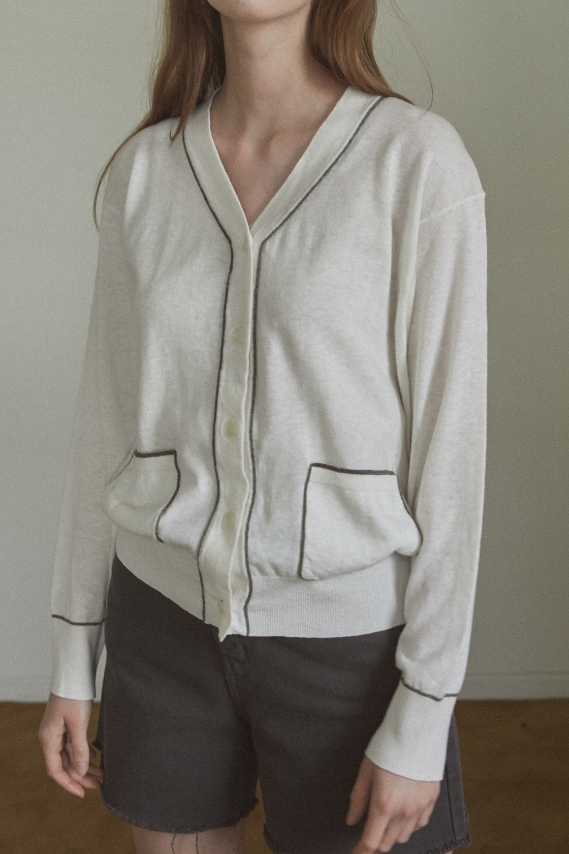 Collaboration Band linen cardigan_Ivory