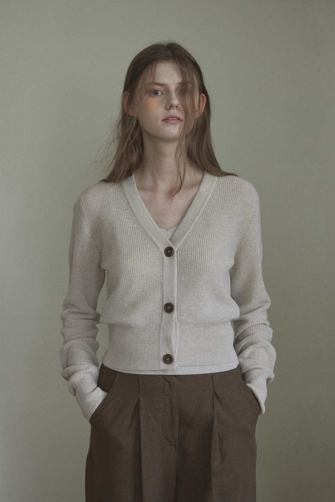 Cool wool pattern cardigan_Oatmeal
